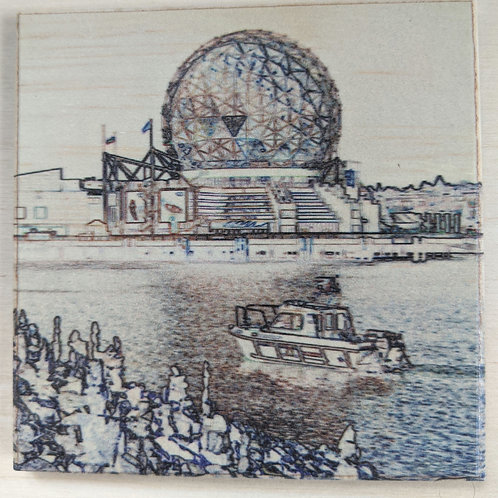 Science World-Impressions-Wooden Art Coaster