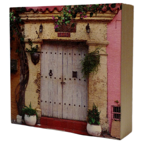 Wood Art Photo Block - Cartagena Door - Photo Images printed on Marble and Wood