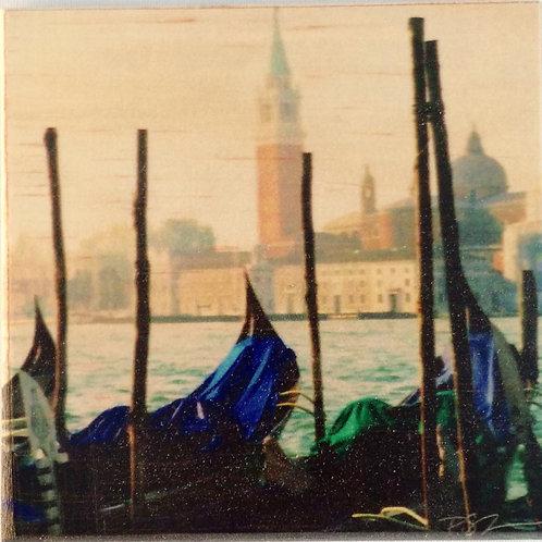 Wood Art Photo Coaster - Gondola, Venice, Italy - Photo Images printed on Marble and Wood