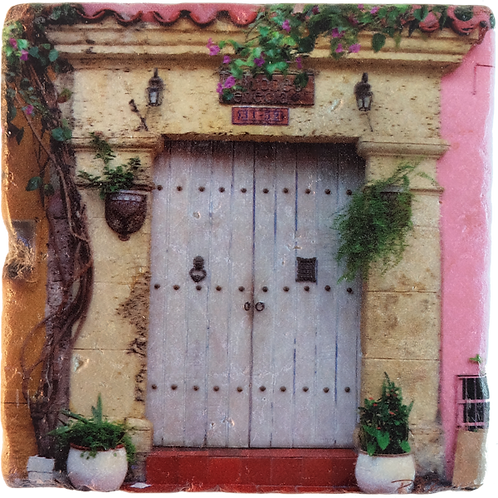 Marble Art Photo Coaster - Cartagena Vintage Door