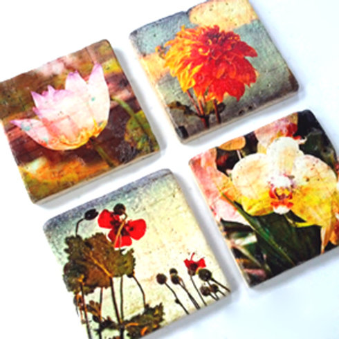 Marble Photo Coasters with Custom Photo Image on Marble and Wood Panel, too