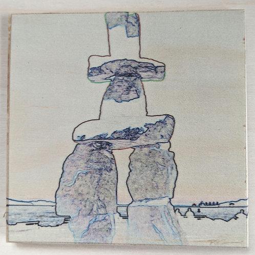 Inukshuk-Impressions-Wooden Art Coaster