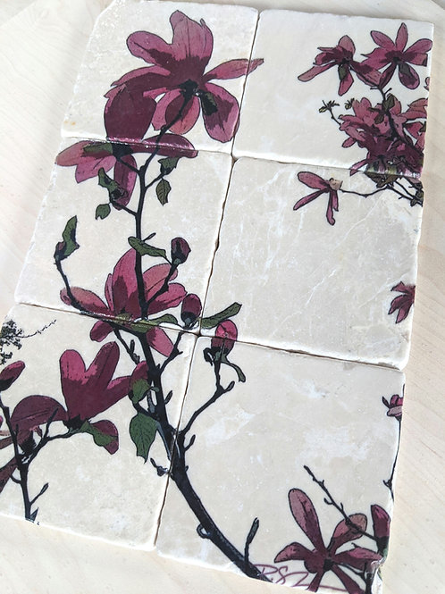 Set of 6 - Marble Coasters - Sweet Magnolia
