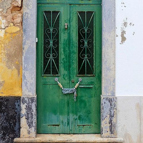 Wood Art Panel - Porto Green Door