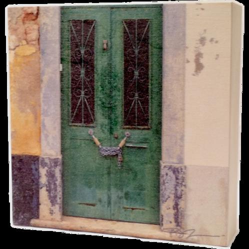 Wood Art Photo Block - Portugal - Vintage Door