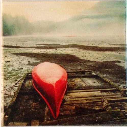 Wooden Photo Art Coaster - Red Canoe, Sunshine Coast, BC- Photo Image printing on Marble and Wood
