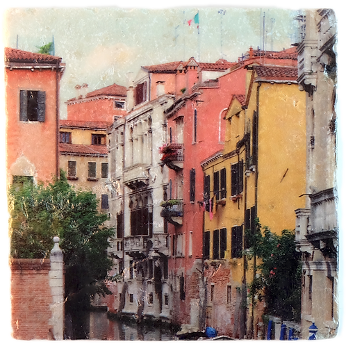 Marble Art Photo Coaster  - Venice, Canal 02 - Photo Images printed on Marble and Wood