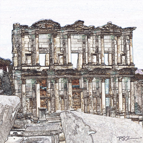 Marble Photo Coaster with Stylized image of a The Library at Ephesus, Turkey