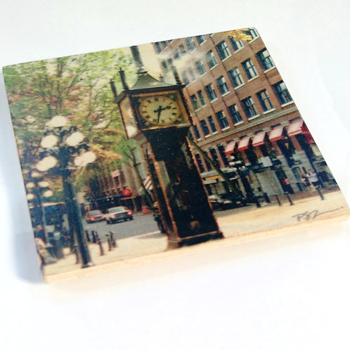 Wood Photo Art Coaster - Steam Clock - Gastown - Photo Image printing on Marble and Wood