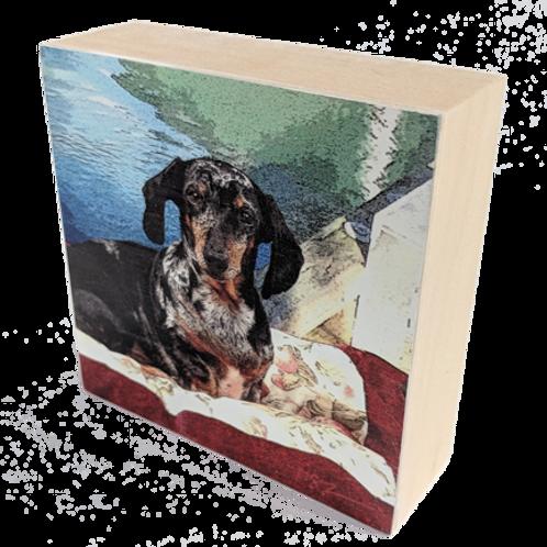 Wood Art Photo Block with Dachshund Image