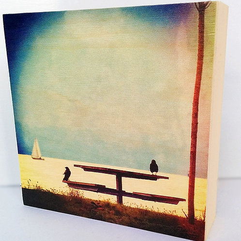 Wood Photo Art Block - A Day at the Beach - English Bay- Photo Image printing on Marble and Wood