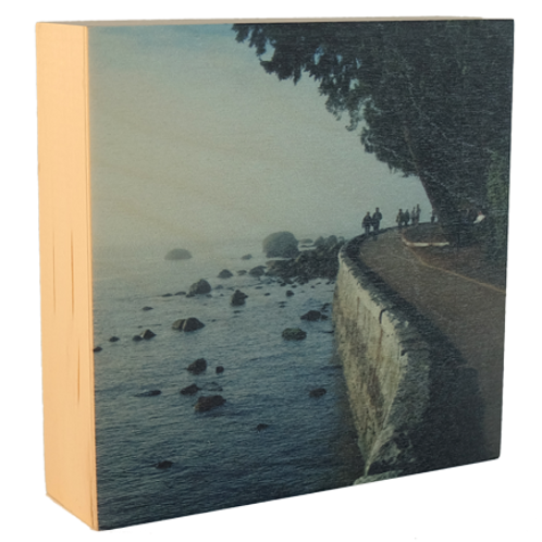 Wood Art Photo Block  - Seawall in Vancouver - Photo Images printed on Marble and Wood