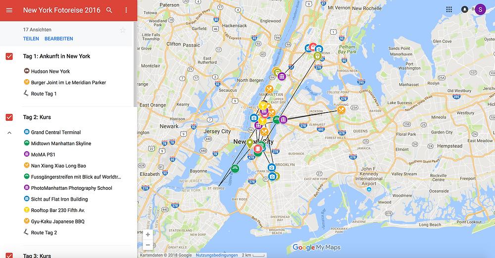 Fotokurs-Reise New York Map