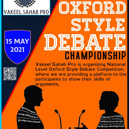 NATIONAL LEVEL OXFORD STYLE DEBATE CHAMPIONSHIP @ VAKEEL SAHAB PRO