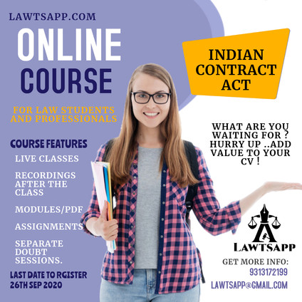 CERTIFIED CERTIFICATE COURSE ON INDIAN CONTRACT ACT,1872 (Live Classes)