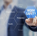 Businessman presenting work safety conce