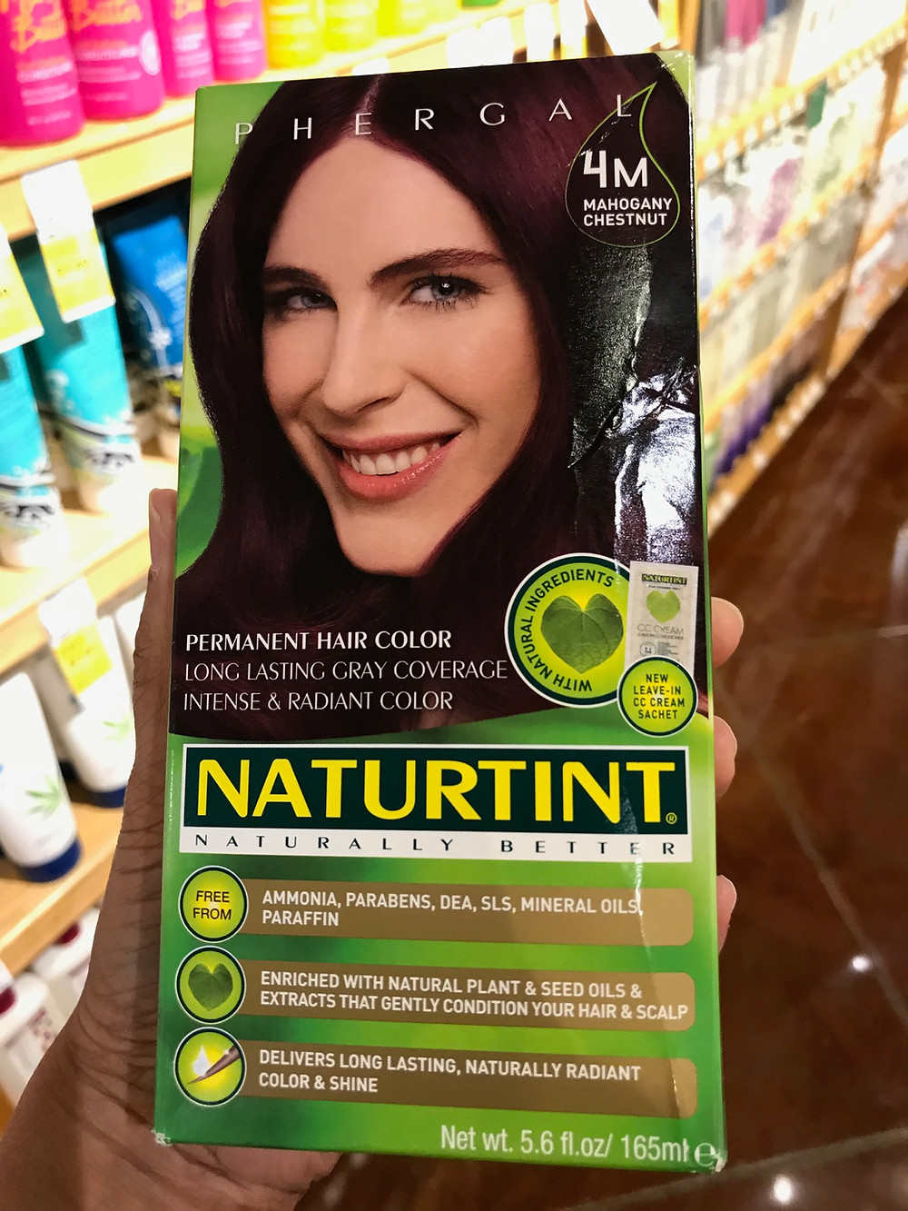 Front of hair dye box NATURTINT, which contains p-phenylenediamine