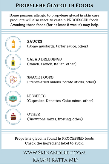 Infographic about Avoidance of Propylene Glycol. Foods that may contain propylene glycol: sauces (mustard), salad dressings (ranch, french, italian), snack foods (french fried onions, potato sticks), desserts and snowcone mixes.