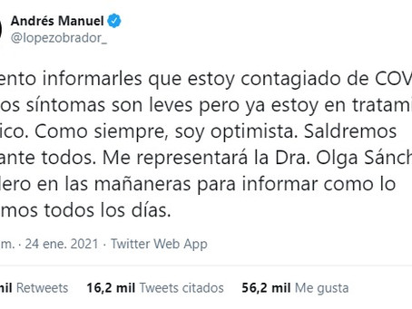 El presidente Andrés Manuel López Obrador anuncia que dio positivo a Covid19