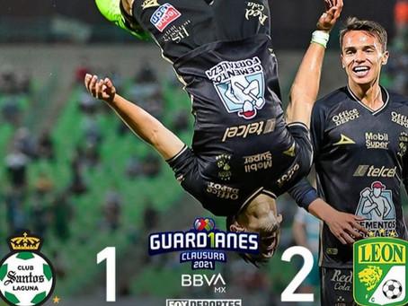 El Campeón León obtiene gran victoria de visitante ante Santos finalizando 1-2