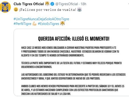 Regresa afición del Tigres al estadio en partido contra las Águilas del América