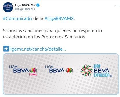 Liga MX sancionará a quienes rompan los protocolos sanitarios por COVID19