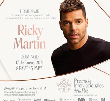 Ricky Martin recibirá reconocimiento como activista de los Derechos Humanos