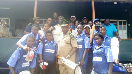 SIERRA LEONE CORRECTIONAL SERVICE WOMEN'S CRICKET TEAM RECEIVES DONATION OF CRICKET EQUIPMENT FR