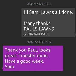 20th July 2021 - Positive feedback received today - www.paulsalwns.co.uk