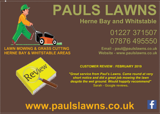 CUSTOMER REVIEW : FEBRUARY 2019 - Great service from PAULS LAWNS. Came round at short notice ....