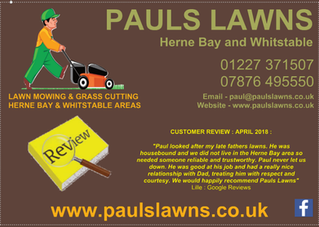CUSTOMER REVIEW : APRIL 2018 - Paul looked after my late fathers lawns. .....