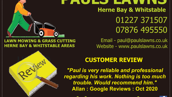 "CUSTOMER REVIEW - OCTOBER 2020 - ""Paul is very reliable and professional regarding his work ...."