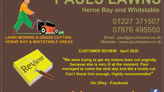 "CUSTOMER REVIEW : APRIL 2020 - ""We were trying to get my sisters lawn cut urgently because she ....."