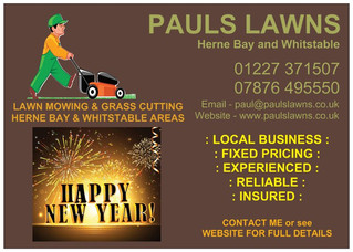 Wishing past, present and future customers a Happy New Year from PAULS LAWNS - Any messages or calls