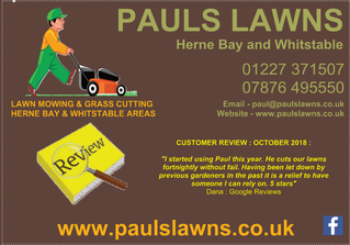CUSTOMER REVIEW : OCTOBER 2018 - I started using Paul this year. He cuts our lawns fortnightly .....