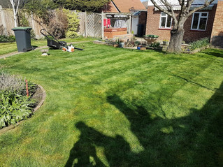 April 2018 - It has been a day for first cuts of the year and new customers. The grass was shin high