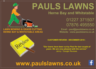 CUSTOMER REVIEW : DECEMBER 2018 - Our lawns have been cut by Paul for last couple of years ....