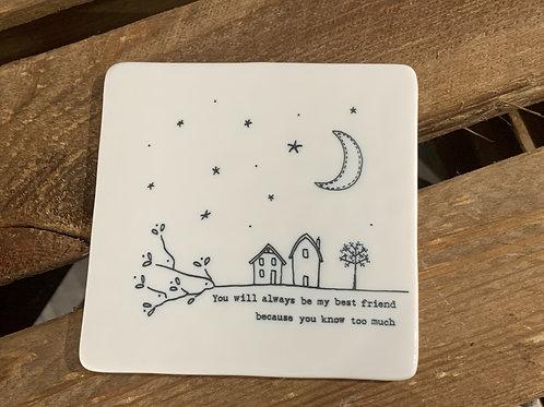 Best Friend Porcelain Coaster