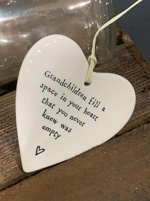 Grandchildren Porcelain Heart