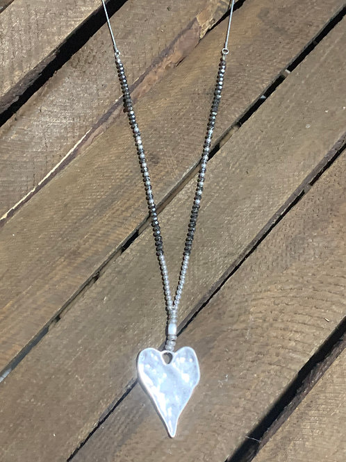 Heart Pendant Glass Seeds Necklace