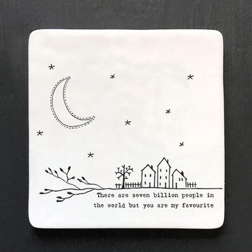 Seven Billion People Porcelain Coaster