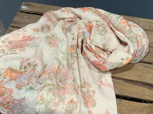 Cream Vintage Floral Design Scarf