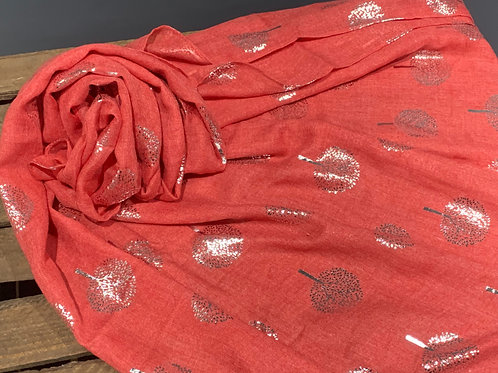 Red Silver Foil Trees Scarf