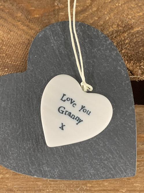 Love You Granny Porcelain Heart