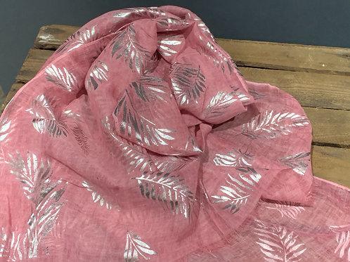 Pink Silver Foil Branch Scarf