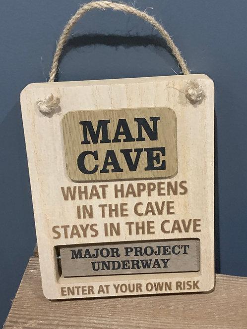 Rotating Man Cave Sign