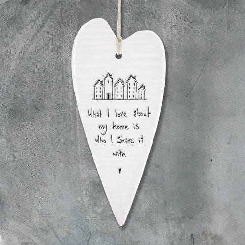 What I love About My Home Long Porcelain Heart