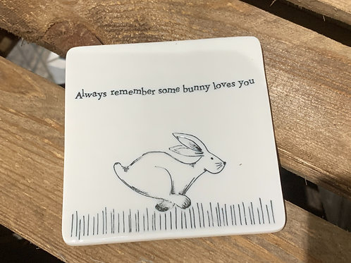 Some Bunny Loves You Porcelain Coaster