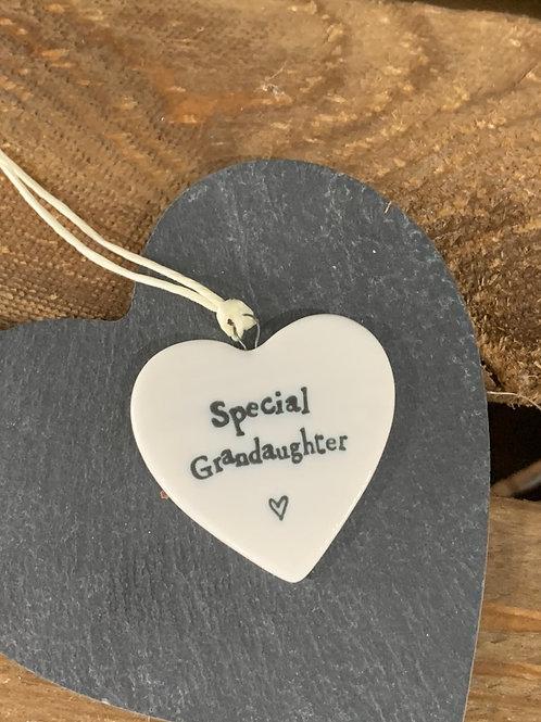 Special Grandaughter Porcelain Heart