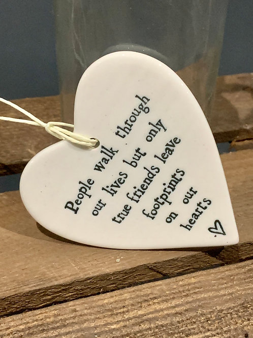 Footprints On Our Hearts Friends Porcelain Heart
